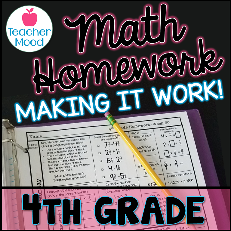making math homework work - homework in a notebook with a pencil