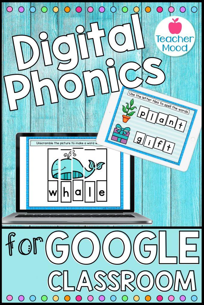 Digital phonics activities for kindergarten, first grade, and second grade digital learning.