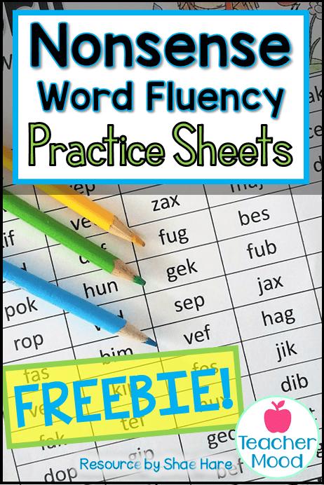 nonsense word fluency free resource activity