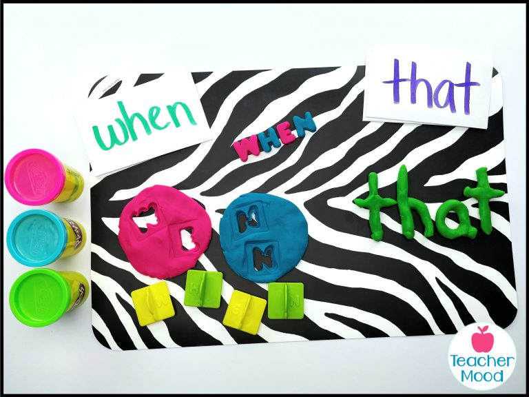 sight words practice with playdough stamps