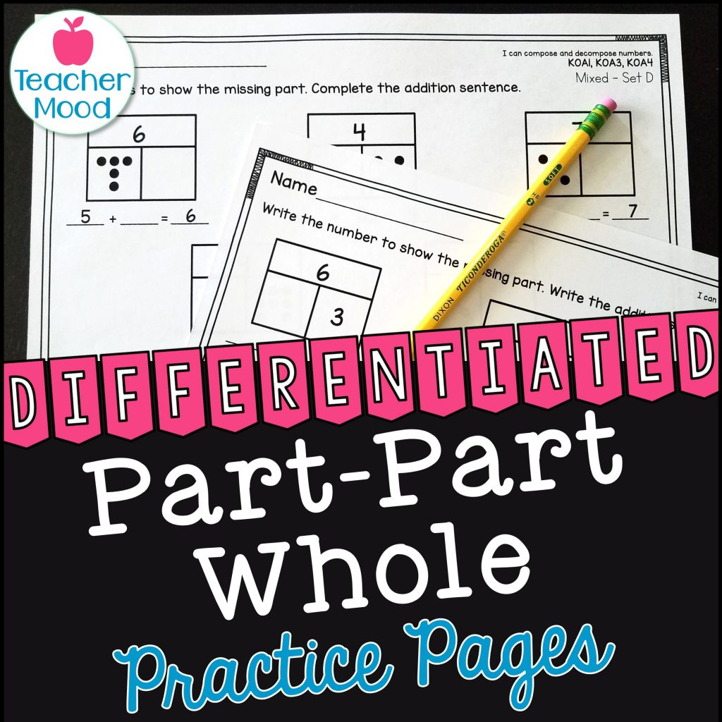 part part whole practice worksheets with number bonds