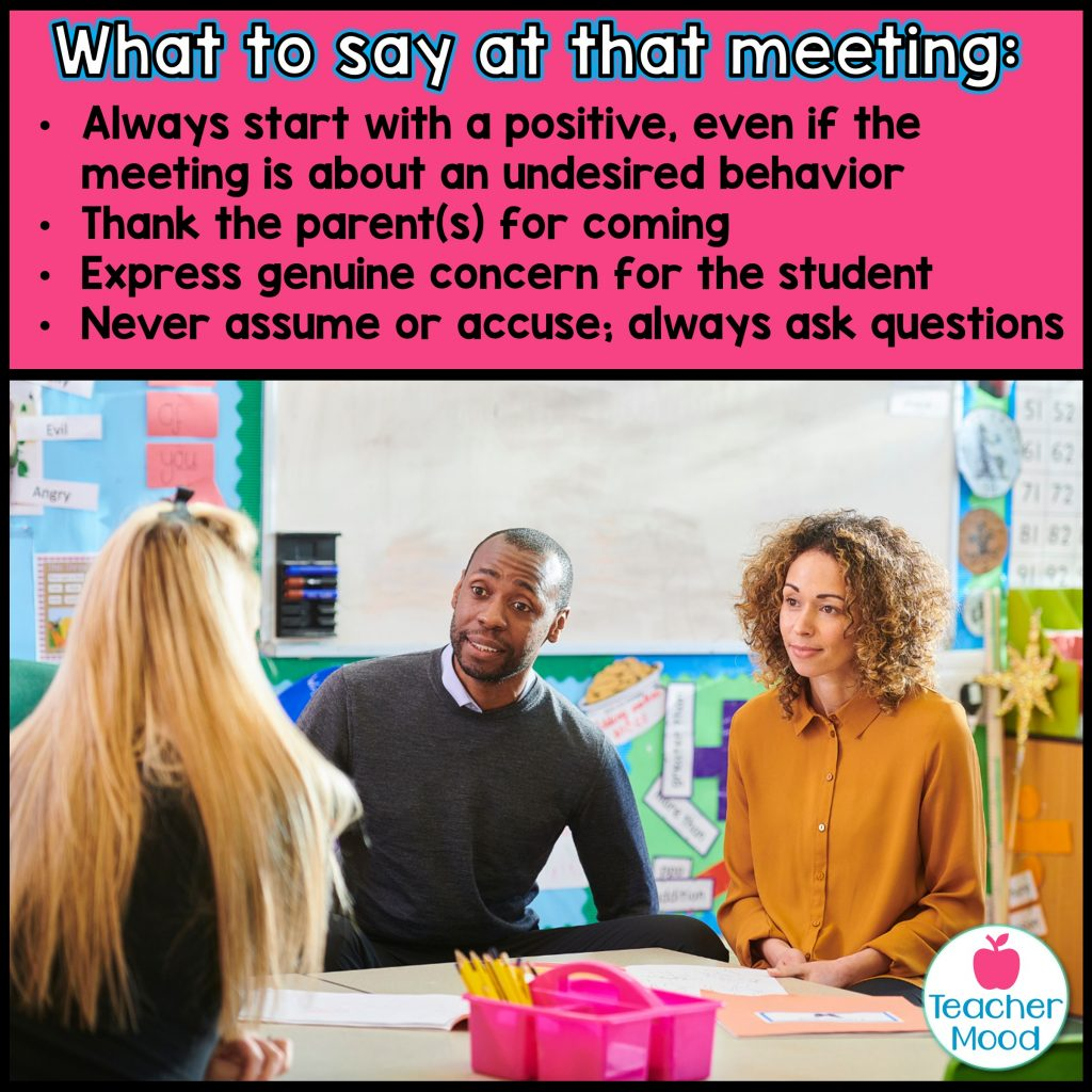 how to plan a parent meeting for first year teachers